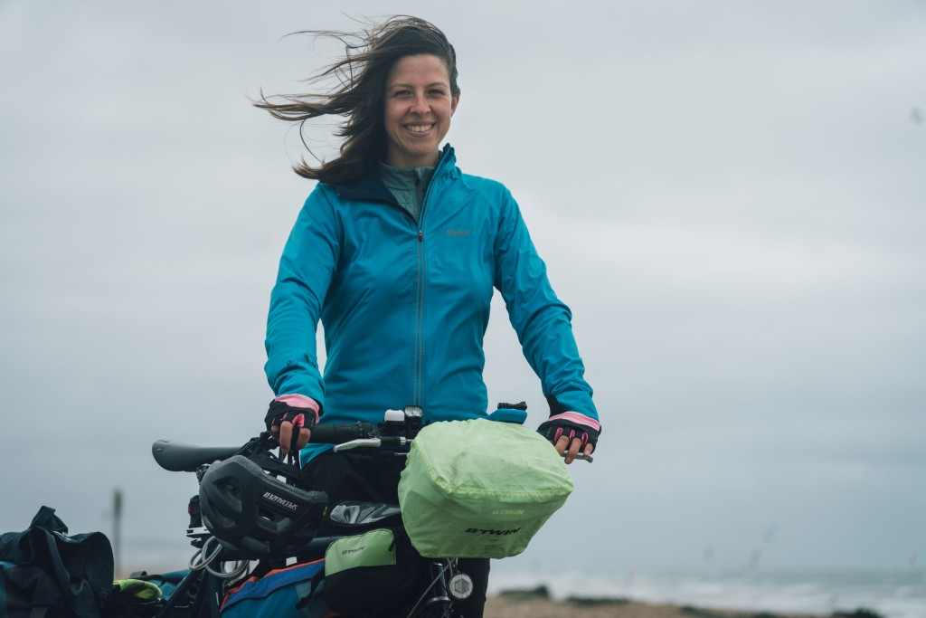 Frankie Dewar with her touring bike during UK bike tour